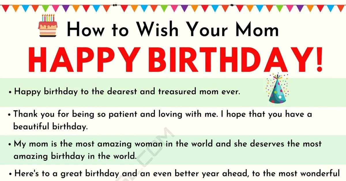 Happy Birthday Mom 35 Sweet And Funny Birthday Wishes For Mom 7esl