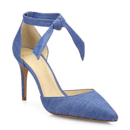 Cristinah Denim d'Orsay Ankle-Strap Pumps, $275.62