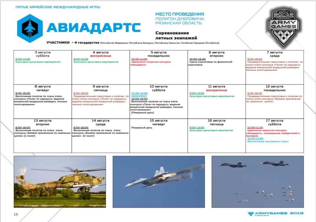 Расписание Авиадартса