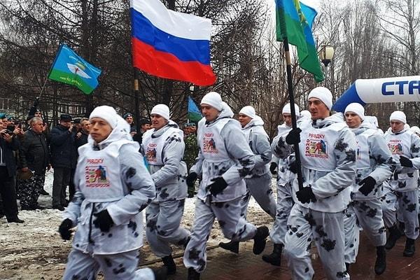 Рязанские десантники принимают участие в масштабном марш-броске из восьми городов