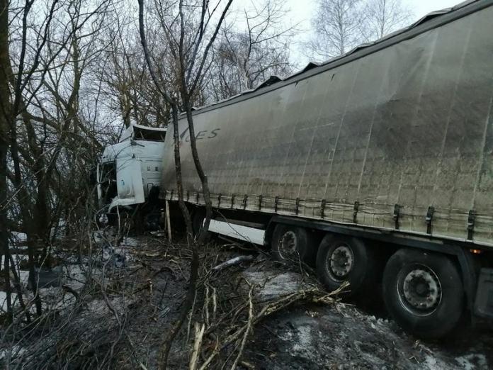 Фура слетела с трассы в Путятинском районе