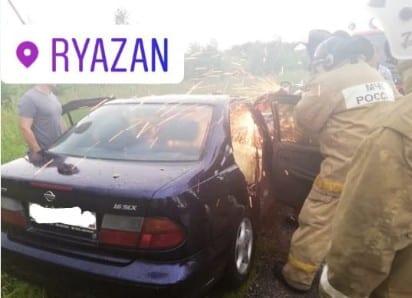 Под Рязанью дерево упало на машину, водителя зажало в салоне