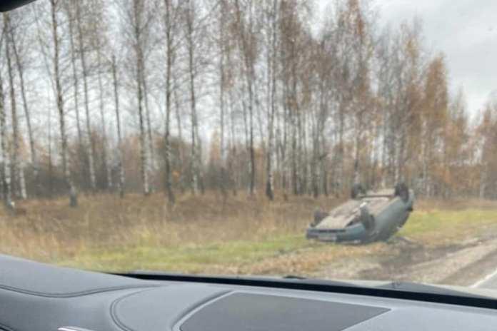 На трассе Рязань-Скопин перевернулся автомобиль