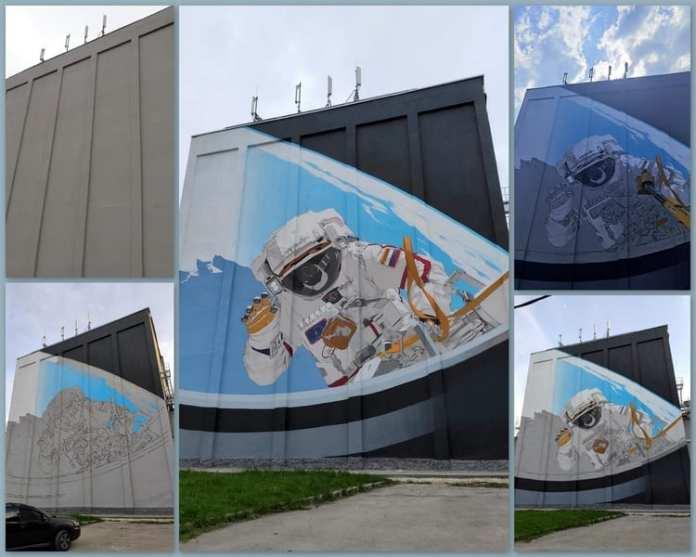 40 литров краски потребовалось для создания граффити космонавта в Рязани