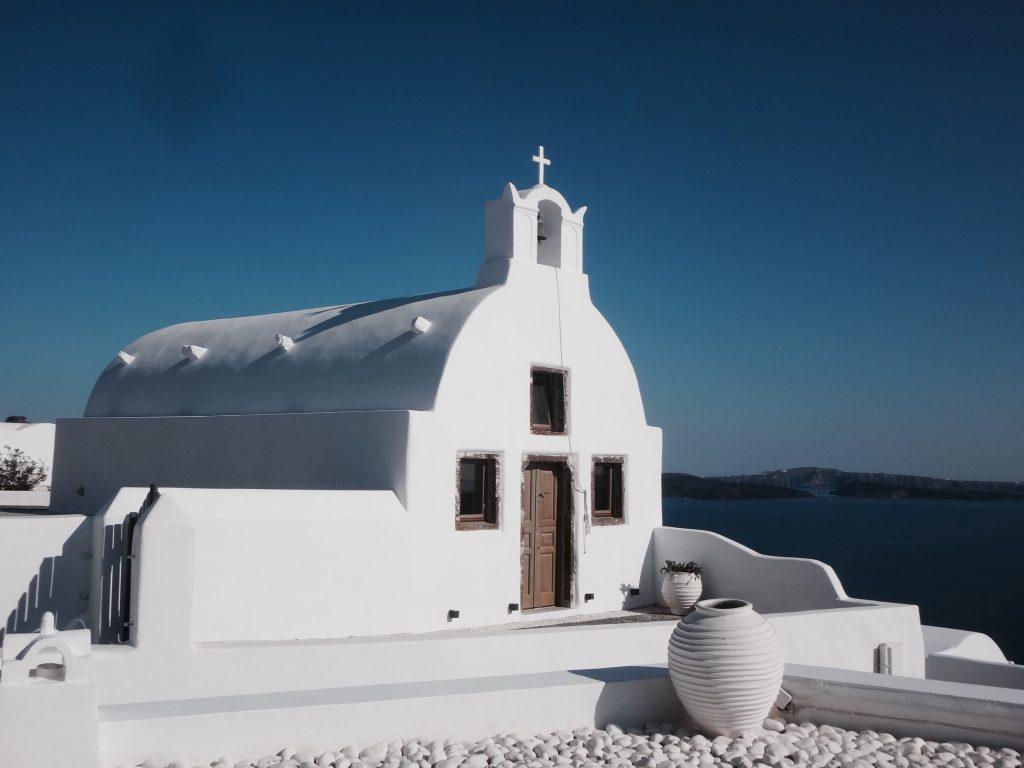 santorini fira oia imerovigli kapelle kies