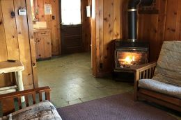 Fireplace in a cabin.