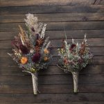 Dried Flower Thistle Fall Wedding Bouquet Set 7leafshop Wedding Bouquets