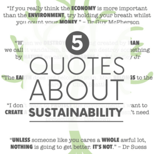 Five sustainability quotes superimposed over images of mountains, forests and a child hugging a very large tree. Cheesy? Perhaps. True? Hell yes.