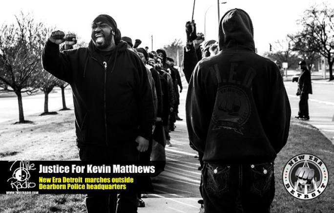 New Era Detroit Outside Dearborn Police Headquarters demanding #JusticeForKevinMatthews