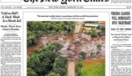 New York Times sobre barragem de Brumadinho: tragédia que pode se repetir