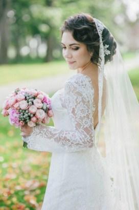 Розовый букет невесты