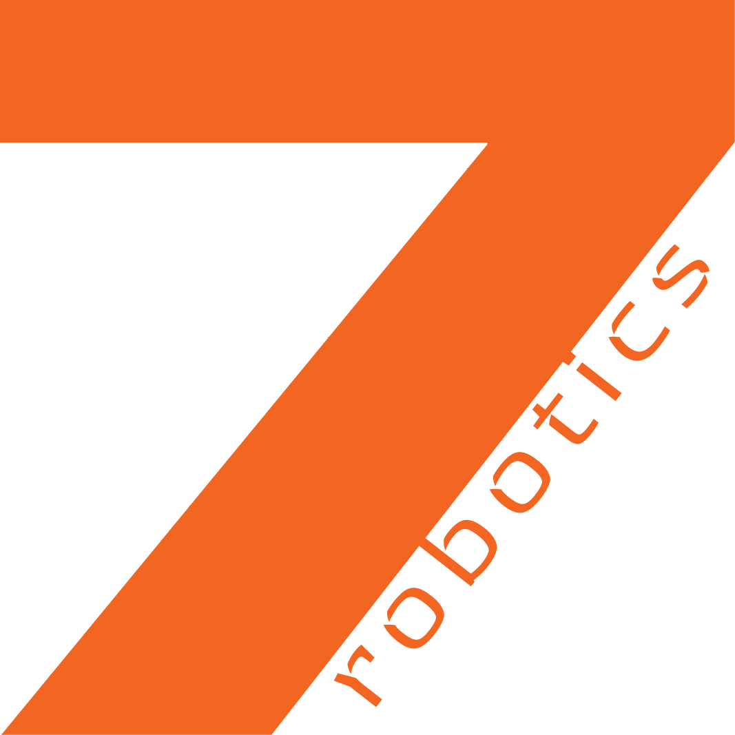 7robotics square logo has orange text with white background.