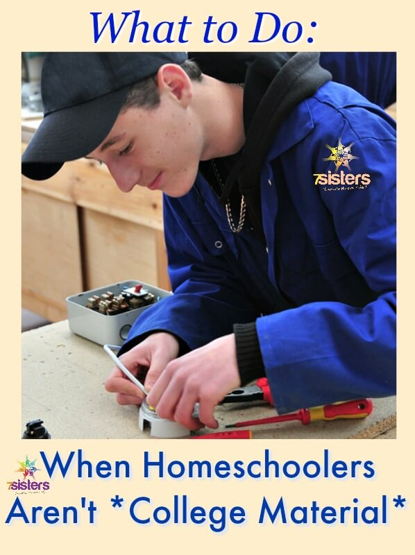 What to Do When Homeschoolers Aren't College Material 7SistersHomeschool.com