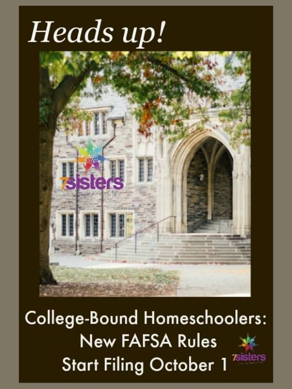 CollegeCollege-Bound Homeschoolers: File FAFSA Starting Oct 1 7SistersHomeschool.com FAFSA Filing time for homeschool seniors. #HomeschoolHighSchool