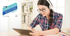 Homeschool Highschool Podcast Episode 61: Writing Research Papers #HomeschoolHighSchoolResearchPapers This photo shows a teenage girl listening to music while taking notes for her research paper.