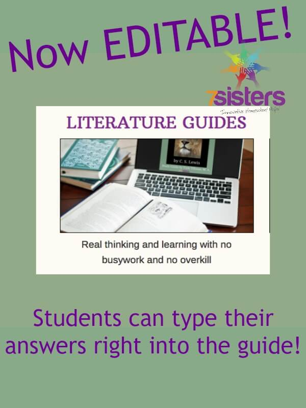 7SistersHomeschool.com Literature Study Guides are Editable! Teens can work right on their computers.