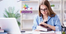 What's the Difference Between 7Sisters Lit & Comp vs Our Other Guides? #7SistersHomeschool.com #HighSchoolLanguageArts This photo shows a teen starting her reading assignment with a computer ready for her to write her Literature Guide answers.