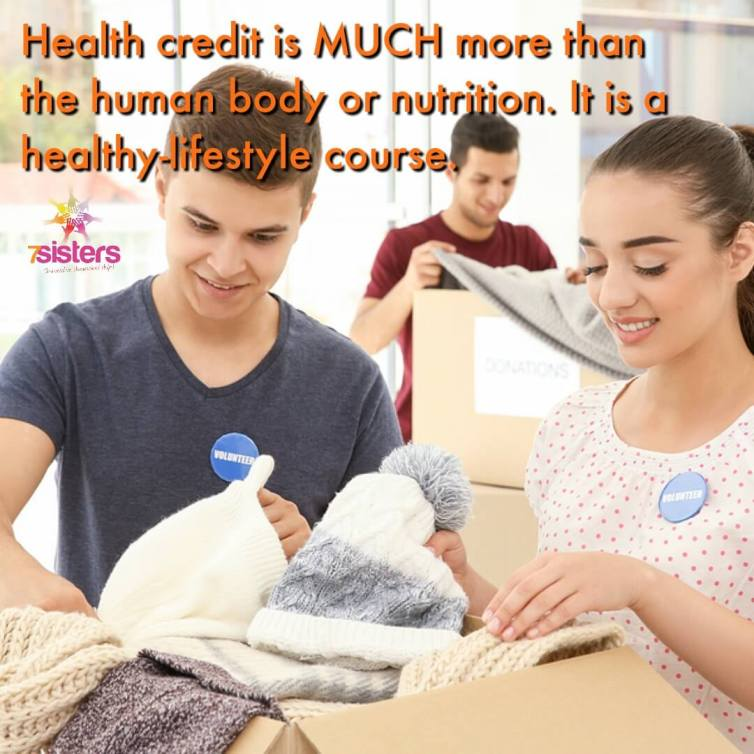 Health credit is more more than human body or nutrition. It is a healthy-lifestyle course. 7SistersHomeschool's Health curriculum addresses the whole teen: spirit, soul and body.