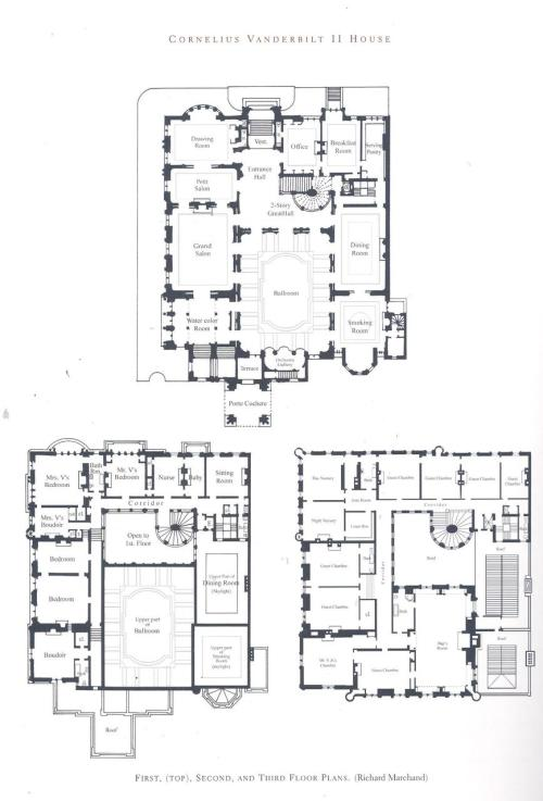 Click to enlarge Floorplan to Cornelius Vanderbilt II's Mansion. Who knew there was that much space in NYC? (12 bedrooms, not including the 2 nurseries and separate rooms for closets/bathrooms..) Originally uploaded by Chauncy.Primm