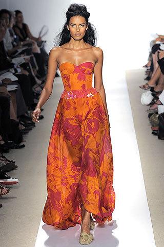 Peter Som, Spring 2009 Ready to Wear Lakshmi Menon orange and pink, patterned print Lakshmi Menon - Page 30 - the Fashion Spot