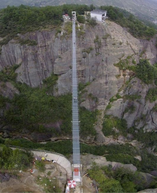 Glass-Bottomed Suspension Bridge In China