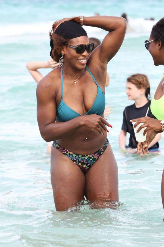 Serena Williams On Vacation At Miami Beach