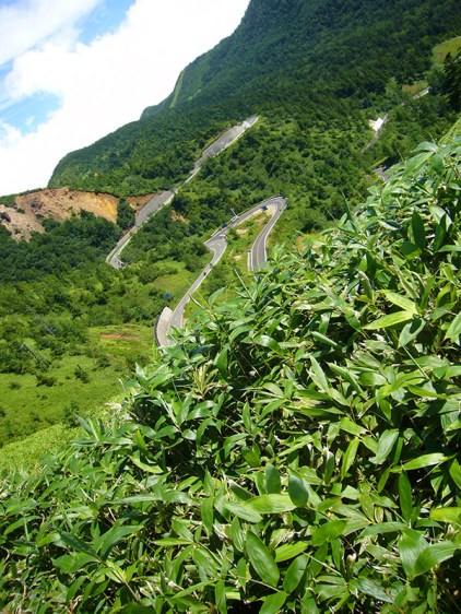 Winding road from Mount Shirane