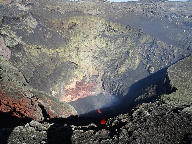 View of the crater and lava lake