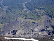 Damage done to the land from the latest eruption's lava flow