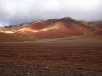 Colourful mountains in the Salvador Dali desert