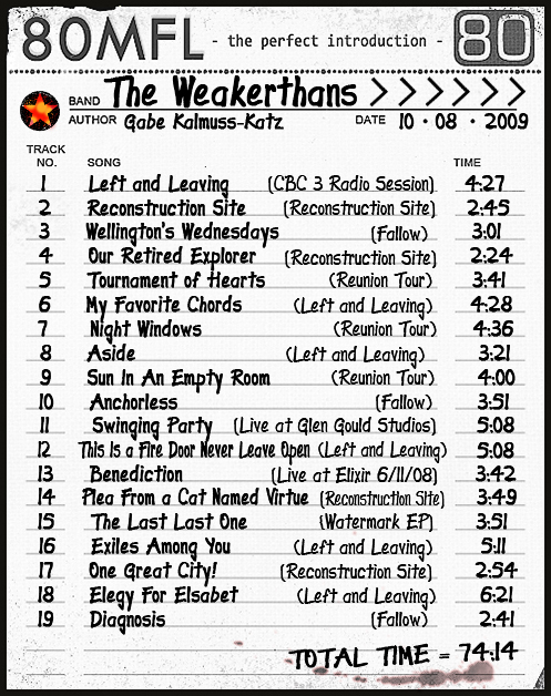 Click to hear The Weakerthans for FREE on Lala.com!