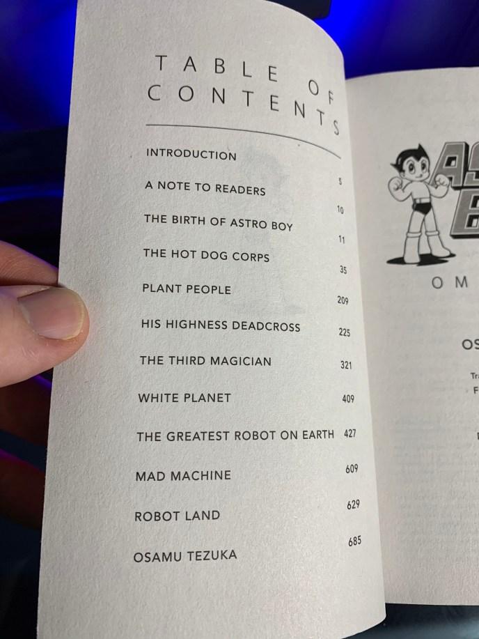 Astro Boy Omnibus 1 Table of Contents