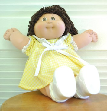 80s Cabbage Patch Kid-Brunette-Yellow Dress