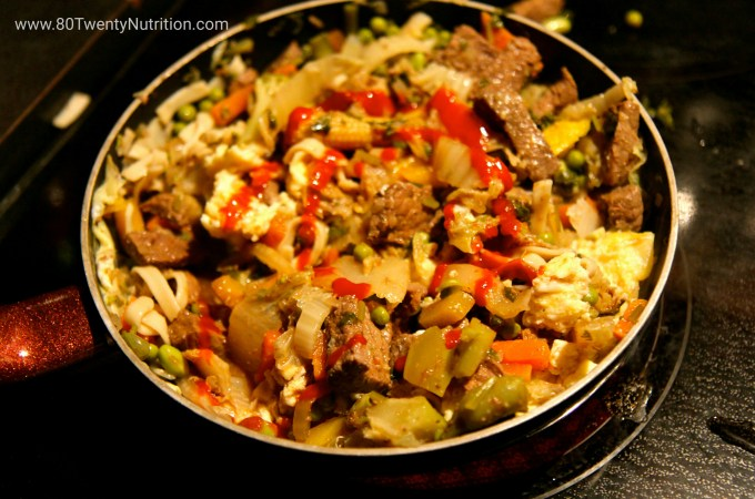 Beef Cabbage Stirfry with Brown Rice Noodles recipe - gluten free, dairy free, slow carb - Christy Brissette media dietitian - 80 Twenty Nutrition