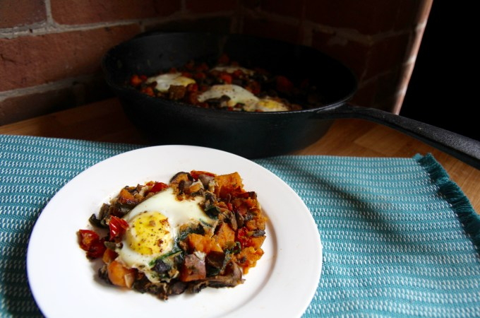 Sweet Potato Egg Skillet with Spinach and Mushrooms