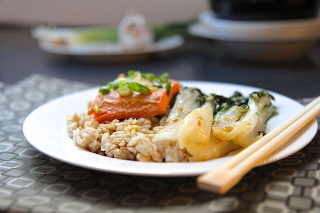 Miso Trout with Sesame Garlic Bok Choy and Brown Rice – Gluten-Free!