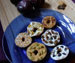 Sliced Plum Donuts - Easy Healthy Snack Hack - how to decorate fresh plum slices with nuts and seeds to look like donuts - Christy Brissette, media registered dietitian nutritionist - 80 Twenty Nutrition