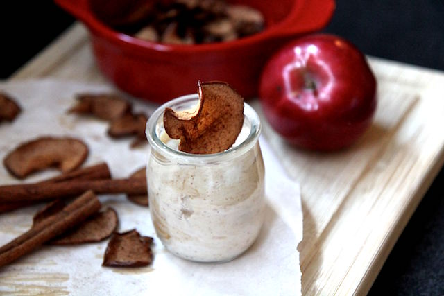 Cinnamon Apple Chips with Honey Nut Dip - healthy snack vegan gluten-free paleo low calorie - recipe by Christy Brissette media registered dietitian nutritionist 80 Twenty Nutrition