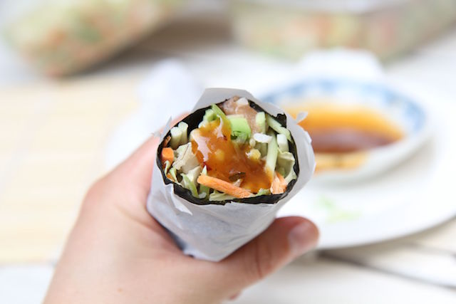 Sushi Burrito Loaded with Fresh Veggies - Gluten-Free, Dairy-Free and Low Calorie - recipe by media registered dietitian nutritionist Christy Brissette, president of 80 Twenty Nutrition