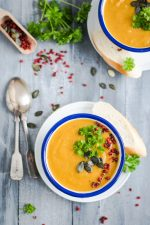 Festive Vegan Pumpkin Soup - Paleo and Gluten-Free - recipe by Christy Brissette media registered dietitian nutritionist and president of 80 Twenty Nutrition