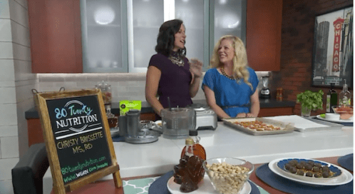 Media registered dietitian nutritionist Christy Brissette of 80 Twenty Nutrition on live TV - Lunchbreak demonstrating healthier makeovers of junk food recipes - nachos and chocolate truffles