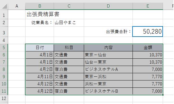 エクセルの基本・セルの範囲