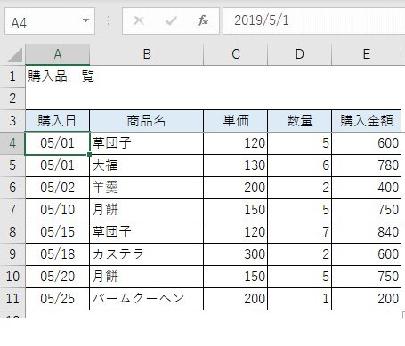 エクセル・テーブル機能