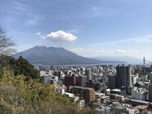 城山観光ホテルから望む2月の桜島