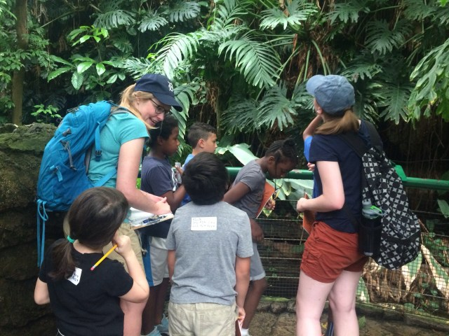 Students at an 826DC summer program explore nature and write about what they observe