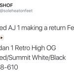 2018年2月発売 AIR JORDAN 1 RETRO HIGH OG ジムレッド