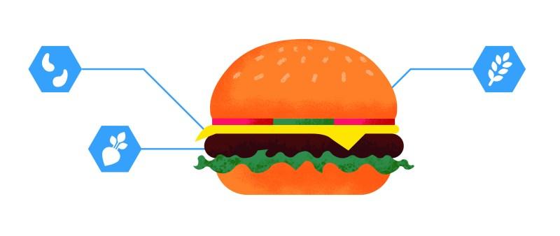 Food Hacking cheeseburger textured
