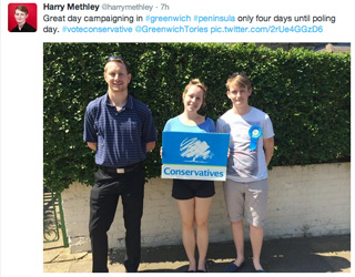 Peninsula ward candidate Harry Methley (right) shows 'em some leg