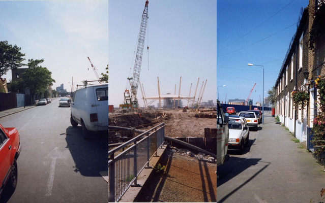 Left and centre: The Thames-side end of River Way, spring 1998. The arrow was left behind by the Parklife crew. Right: River Way facing the Thames