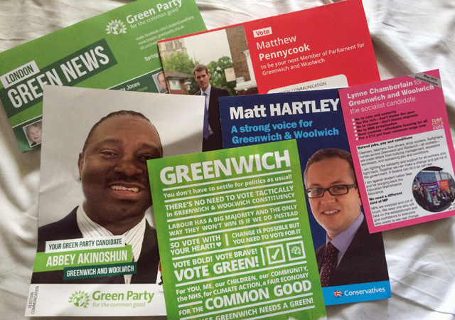 A selection of the leaflets to drop through the door at 853 Towers during the campaign.